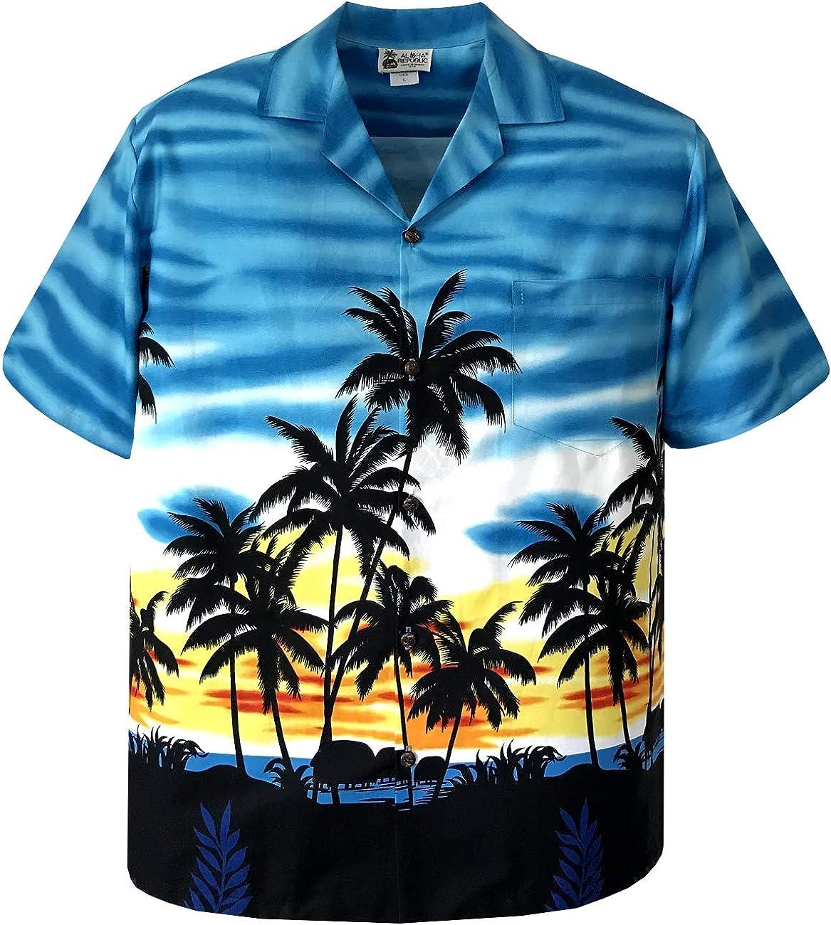 Tropical Hawaiian Sunset Palm Popular brand Trees Panoramic Max 80% OFF Aloha Shirt Design