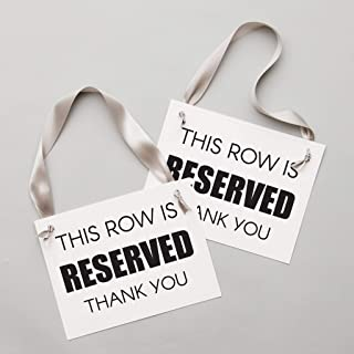 Reserved Row Signs Set of 2 Chair Seat Banners | This Row Is Reserved, Thank You Modern Block Font for Venue Decor | Corporate Event Conference Wedding Ceremony Aisle Black Ink White Paper Gray Ribbon