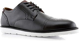 Polar Fox Mens Kenneth MPX19658 Brogue Hybrid Grand Cap Toe Memory Foam Oxford Lace Up Sneaker Dress Shoes