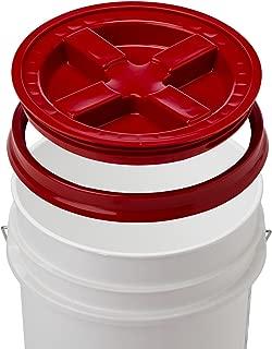 5 Gallon White Bucket & Gamma Seal Lid - Food Grade Plastic Pail & Gamma2 Screw Seal Tight Lid (Red)