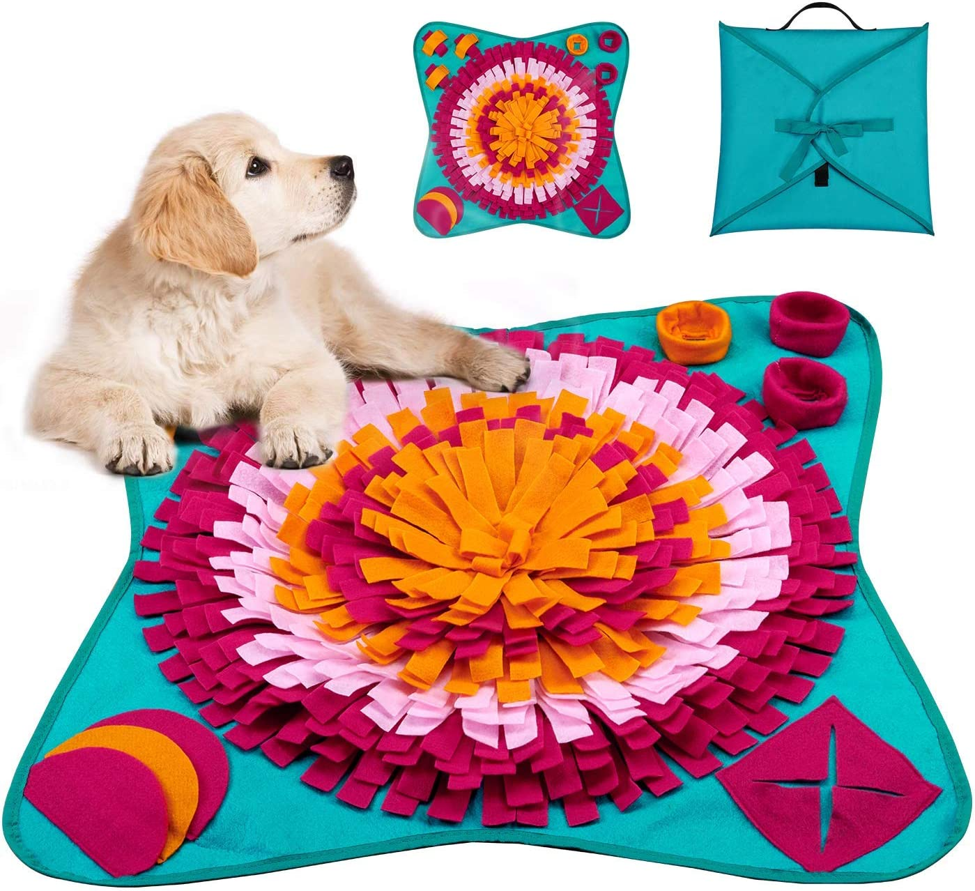 LIVACASA Alfombra Olfato Grande Perro Mascotas, Snuffle Mat, Juguete de Inteligencia para Perros, Lavables a Máquina, Plegable Aviliable, Entrenamiento para Mascotas Pequeños y Grandes Multi Color