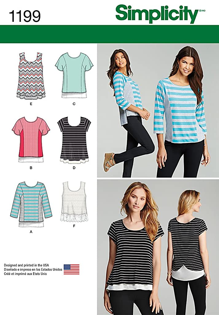 Simplicity 1190 Women's Knit Top Sewing Patterns, Sizes XXS-XXL