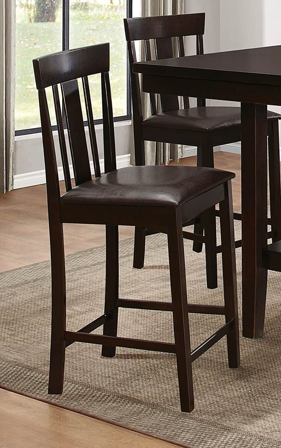 Benzara BM176304 Wooden Counter Height Chair with Padded Seat, Set of Two, Brown