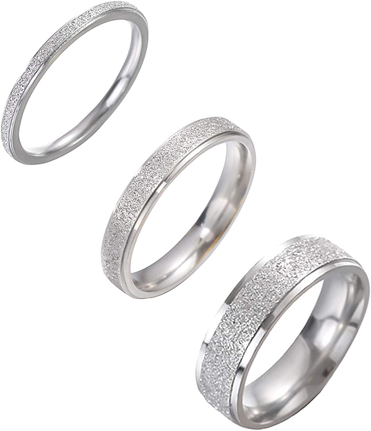 Cassfic 3 Pcs Stainless Steel Rings for Women Stackable Eternity Ring Polished Sand Blasted Engagement Wedding Bands Wedding Ring Set Size 5-10