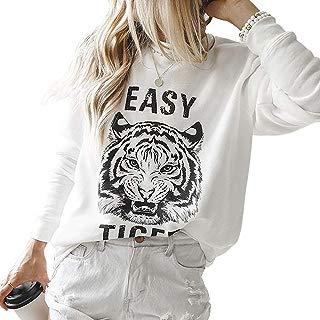 Women Long Sleeve Sweatshirts Tiger Print Round Neck Loose Fit Tops Shirt