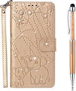 Lucifa Case for Huawei P8 Lite 2017 / Honor 8 Lite,[Elephant Series] Bling Sparkly Diamonds Gems Premium PU Leather Magnetic Flip Cover with Card Holders Wallet Case Full Protection (Gold)