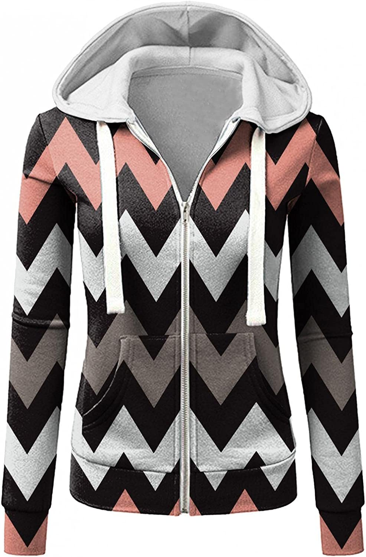 Casual Hoodies for Womens Fall Warm Fashion Wave Stripe Hood Coats College Student Workout Sweatshirt Jacket Outwear