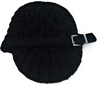 Michael Kors Cableknit Newsboy Hat with Silver Buckle,Black