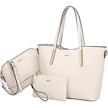 LOVEVOOK Handtasche Damen Shopper Schultertasche Umhängetasche Damen groß Tasche Damen Synthetik Leder Handtaschen 3-teiliges Set