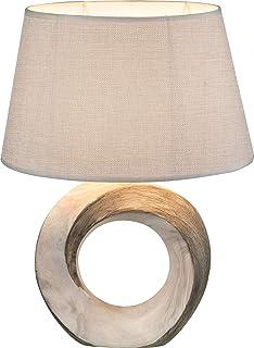 Lámpara para mesita de noche con pantalla de tela, color gris, lámpara decorativa (lámpara de mesita de noche, lámpara de mesa, altura 41 cm, base de cerámica gris)