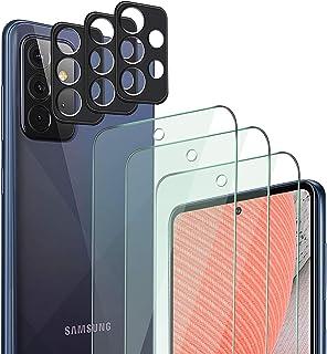 QHOHQ 3 Pack Screen Protector voor Samsung Galaxy A72 4G/5G met 3 Packs Camera Lens Protector, Gehard Glass Film, 9H Hardh...