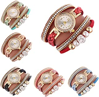 Women Ladies Wholesale 6 Pack Diamond Watch Set Lot Leather Wrap Around Bracelet Analog Quartz Dress Wrist Watches