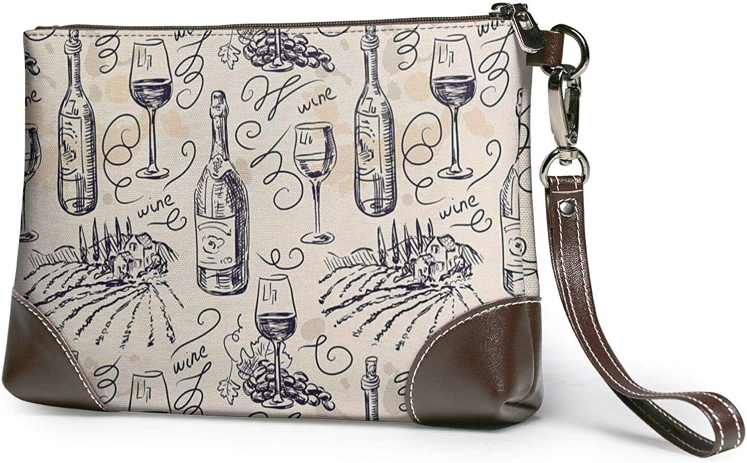 Wine And Winemaking Winery Grape Field Printed Women'S Wristlet Handbags Purses Evening Leather Clutch Bags