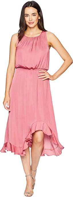 Sleeveless Cinched Waist Rumple Maxi Dress