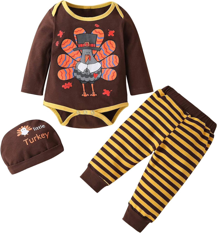 Infant Baby Boy Girl Thanksgiving Outfit Long Sleeve Romper Bodysuit Tops Turkey Pants Hat Headband 4PCS Clothes Set