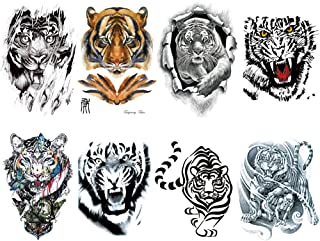 Tiger Temporary Tattoo for men, Teens Guys,kids boys (8 Sheets) by Qufan, Large Waterproof long lasting Fake Tattoos Stickers for Arm Shoulder Chest & Back- Biker Tattoos (A)