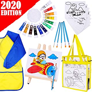 Innorock Acrylic Paint Set for Kids - Art Supplies Canvas Painting Kit for Kids Brushes, Easel, Smock, Bag for Boys and Girls Age 3 4 5 6 7 8 9 Years Old Arts and Craft Gift Project