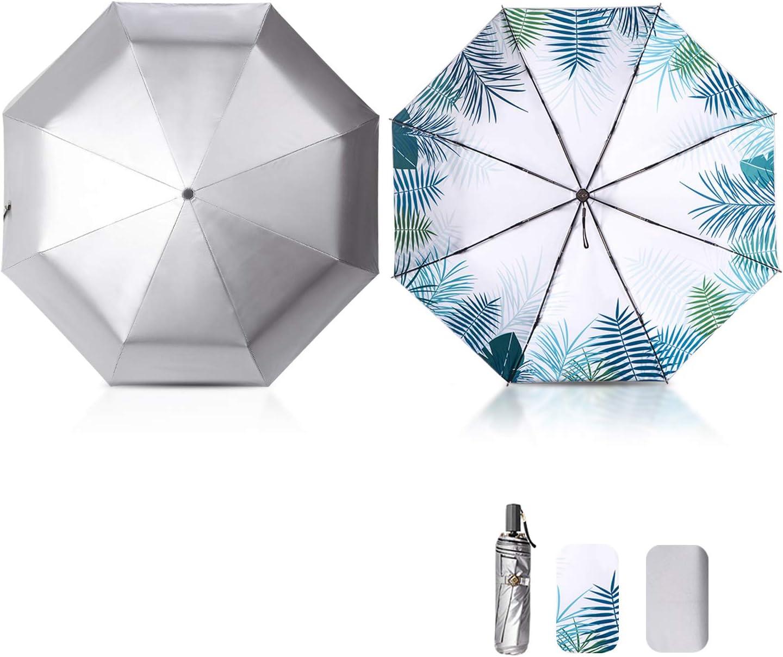 Galatée Mini Paraguas Plegable UV Protección Recubrimiento de Plata Titanio Paraguas Bloqueador Solar de Doble Capa con UPF 50+ (Estilo de Vacaciones)