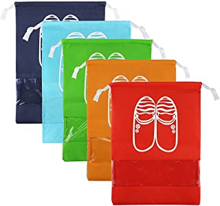 CHRISLZ Travel Shoes Bag Finishing Bag Dustproof Shoes Storage Bag Bundle Pocket Drawstring Organizer Bag (5-color-L)