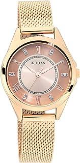 ساعة تيتان سباركل 2 بمينا ذهبي وردي بسوار معدني 2565WM05
