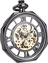 Pocket Watch Automatic Mechanical Open Face Octagon SIBOSUN Antique Mens Roman Numerals Chain Box