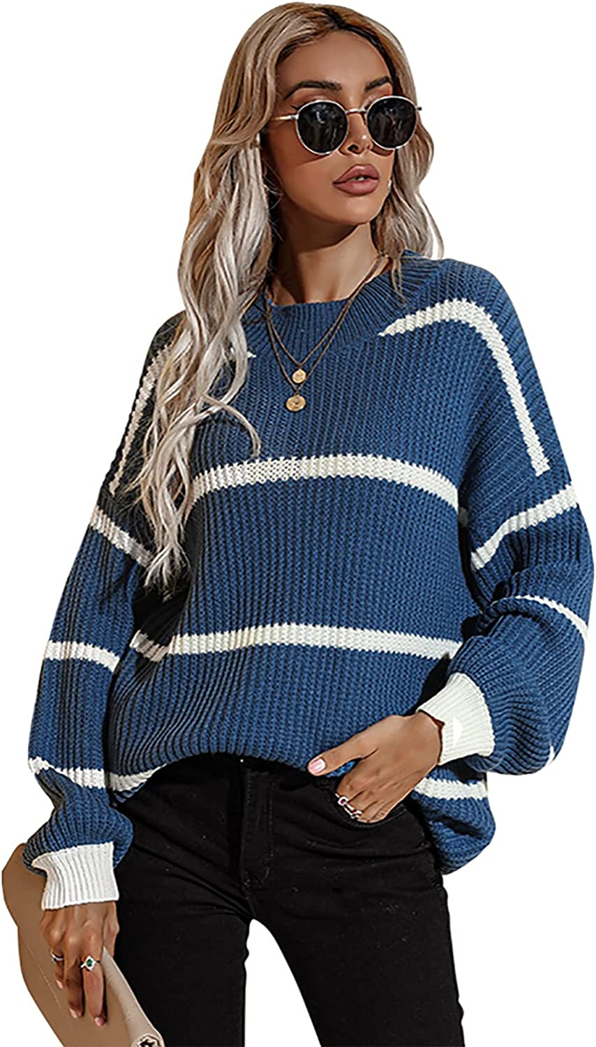 BIUBIU Women's Fashion Long Sleeve Striped Color Block Knitted Sweater Loose Oversized Pullover Jumper Tops