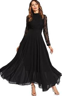 41821240961 SOLY HUX Femme Robe à Manches Longues Fluide en Dentelle Contrastée Maxi  Robe Long Robe Plissé