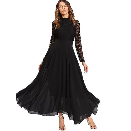 2b170a82a83 SOLY HUX Femme Robe à Manches Longues Fluide en Dentelle Contrastée Maxi Robe  Long Robe Plissé