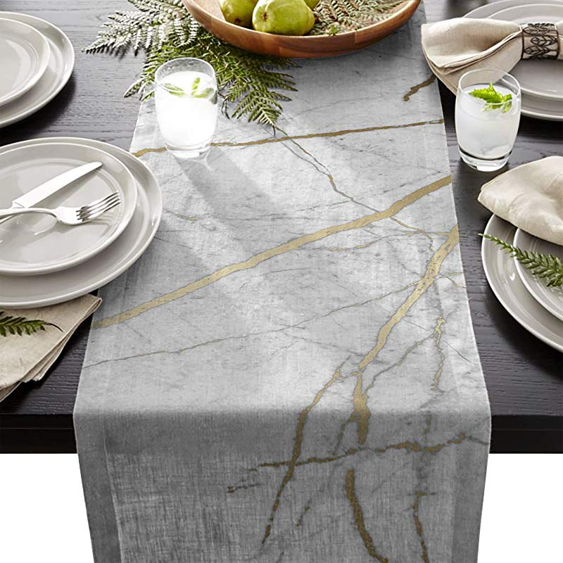 HELLOWINK Cotton Linen Burlap Table Runners 90inch For Wedding Party Holiday Dinner Home Decor Gray Gold Wild Symbol Marble Pattern Triangle