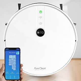 """Pure Clean Robotic Vacuum Cleaner - 1800Pa Suction - Wifi Mobile App and Gyroscope Mapping - Ultra Thin 2.9"""" Height Cleans Carpets and Hardwood Floor - PUCRC455, White"""