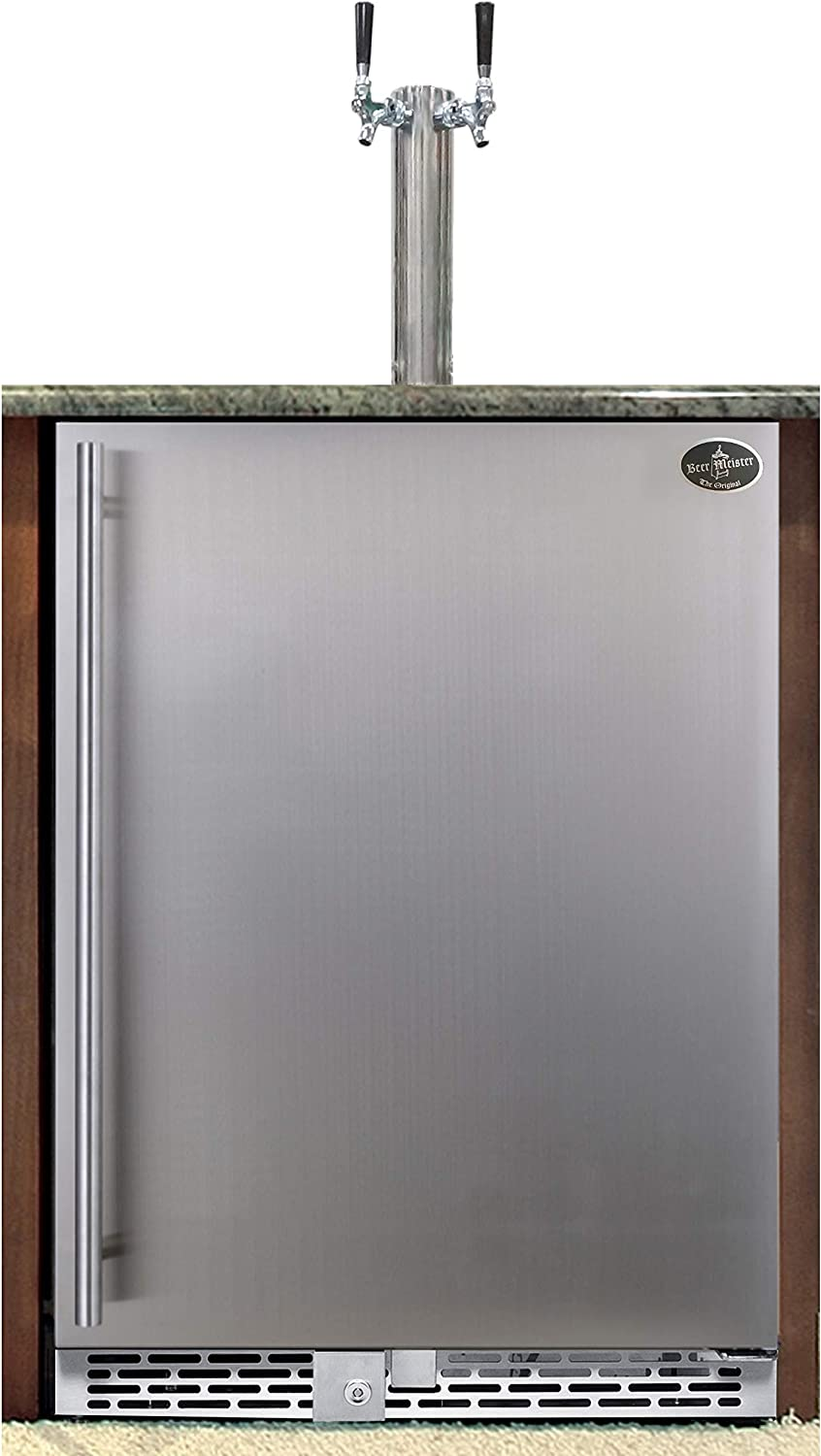 Beer Meister dual tower with stainless Boston Mall - Beauty products door built-in kegerator