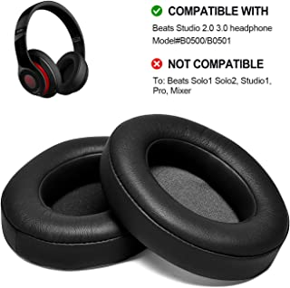 Black Replacement Earpads, AGPTEK 2 Pieces Foam Ear Pad Cushion Compatible with Beats Studio 2.0 Wired/Wireless B0500 B0501 Headphone & Beats Studio 3.0