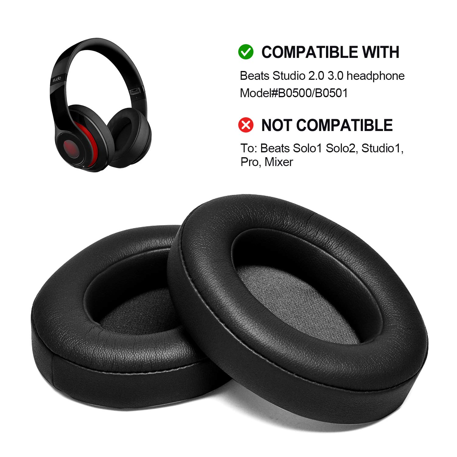 Amazon Com Black Replacement Earpads Agptek 2 Pieces Foam Ear Pad Cushion Compatible With Beats Studio 2 0 Wired Wireless B0500 B0501 Headphone Beats Studio 3 0 Electronics