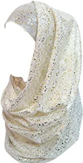 Lina & Lily Gold Glitter Plain Color Hijab Muslim Head Wrap Scarf Shawl