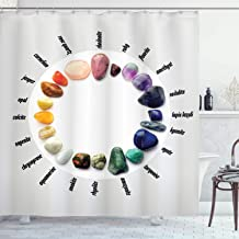 Rocks Gemstones with Names Semi Precious Stones Recovery Healing Magic Medicine Zen Chakra Home Decor Innovational Designing Decorating Bathroom Ideas Shower Curtain White Blue Purple Yellow Orange