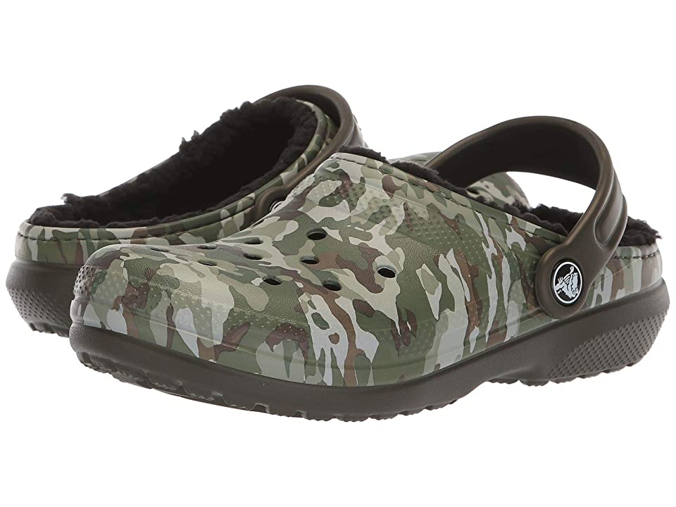 Crocs Kids Classic Lined Clog (Toddler/Little Kid) (Dark Camo Green/Black) Kids Shoes