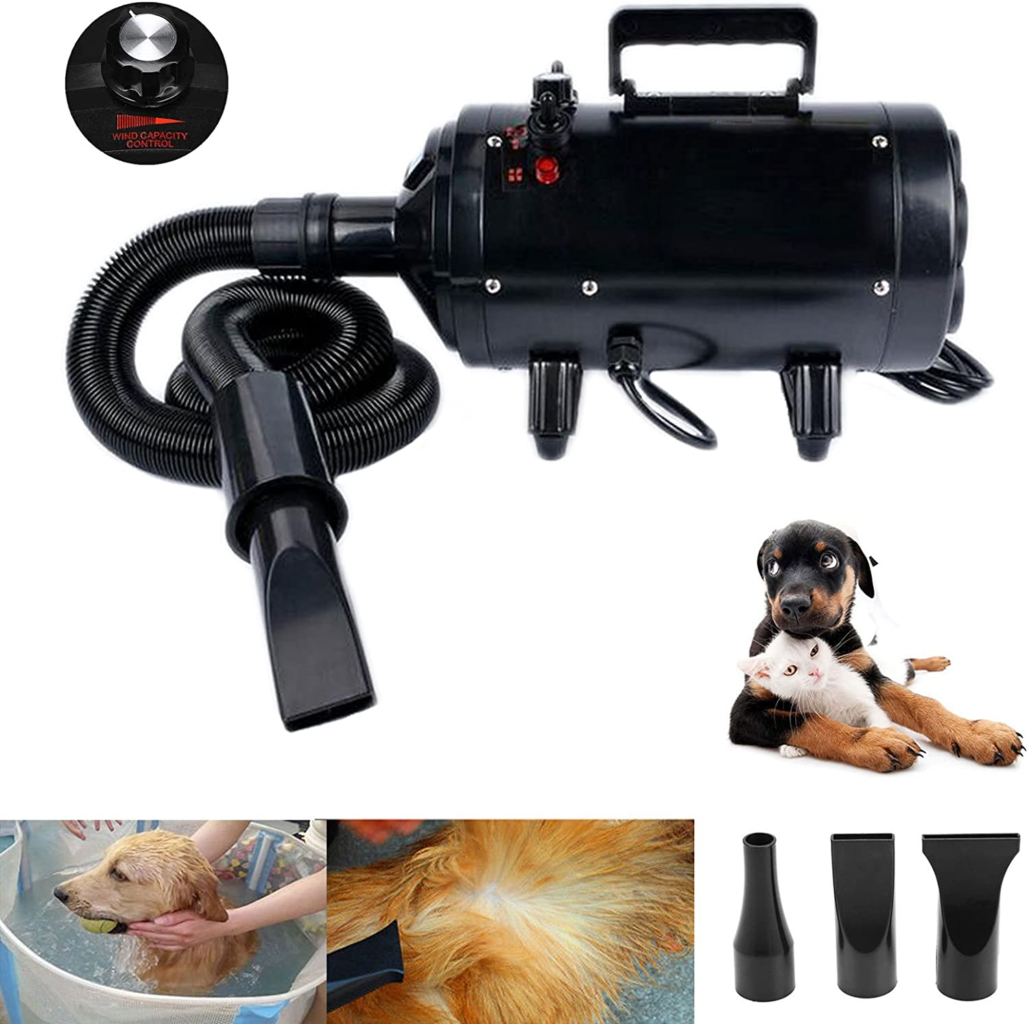 Dicn Dog Cat Pet Hairdryer Powerful Blaster High Velocity Hair Dryer Gear Stepless Variable Speed Temperature Control Professional Blower Heater, Black 3 Nozzles 2.5M Flexible Hose