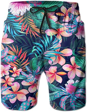 999851b4ae9b7 PPANFKEI Tropical Hawaii Flowers Mens Casual Board Shorts Loose Fit With  Liner Solid Swim Trunks Jogger