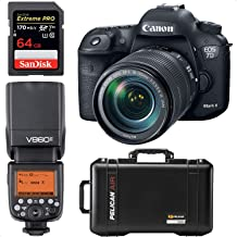 Canon EOS 7D Mark II DSLR Camera with 18-135mm f/3.5-5.6 is USM Lens + Pelican Case with Dividers + Godox Speedlite Flash + 64GB Pro Memory Card | Professional Photographer Bundle