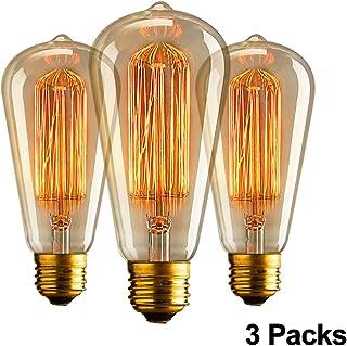 Retro Edison bombilla incandescente 40W ST64 Dimmable E27 Dise/ño bombilla de filamento Tungsteno KJLARS
