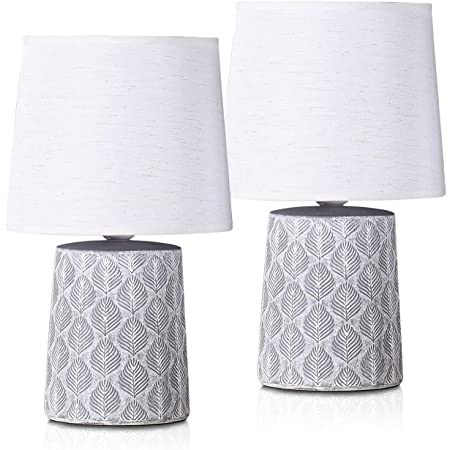 BRUBAKER - Lampe de table/de chevet - Lot de 2 - Design scandinave/moderne - Hauteur 33 cm - Pied en Céramique/Gris - Abat-jour en Lin/Blanc