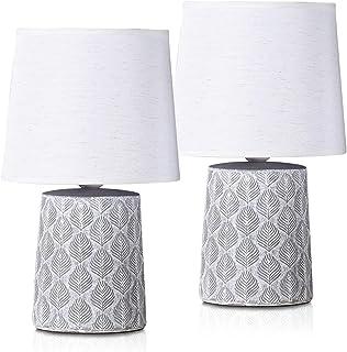 BRUBAKER - Lampe de table/de chevet - Lot de 2 - Design scandinave/moderne - Hauteur 33 cm - Pied en Céramique/Gris - Aba...
