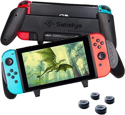 Satisfye - Accessories Compatible with Nintendo Switch - Comfortable & Ergonomic Switch Grip, Joy Con & Switch Control - #1 Switch Accessories Designed for Gamers. FREE BONUS: 4 Thumbsticks