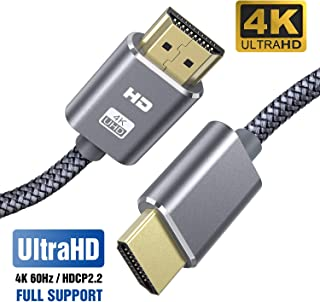 Cable HDMI 4K 2M SUCESO Cable HDMI 2.0 de Alta Velocidad Trenzado de Nailon Ultra HD 4K a 60Hz a 18Gbps Soporta con Video 4K UHD 2160pHD 1080p3DEthernetXbox 360BLU-Ray PS3 PS4 ARC HDCP 2.2-Gris