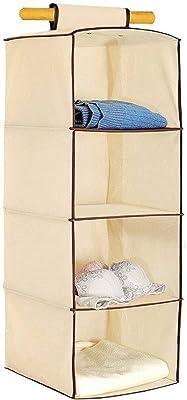 PremSakhi Cotton Linen Wardrobe Storage Hanging Organizer Pocket Drawer Towel Clothes Blanket Underwear Closet Clothing Accessories Items: 4 Layer Beige