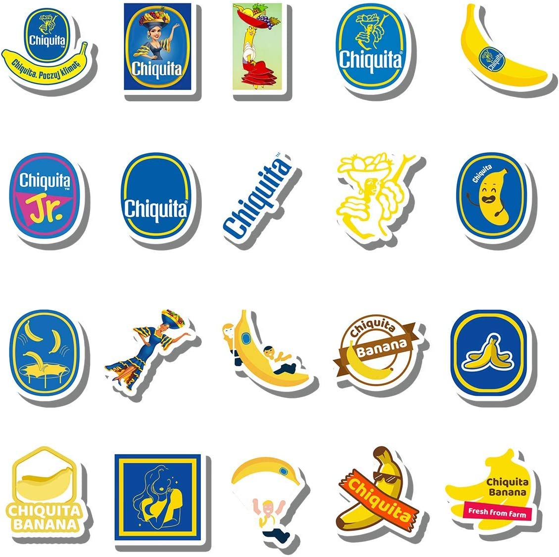 20 PCS Stickers Pack Chiquita Aesthetic Banana Vinyl Colorful Waterproof for Water Bottle Laptop Bumper Car Bike Luggage Guitar Skateboard