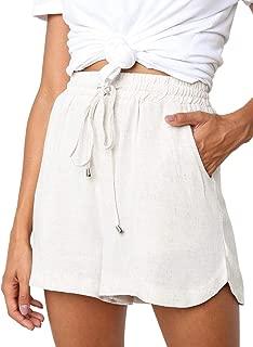 CILKOO Women's Drawstring Elastic Waist Casual Comfy Cotton Linen Beach Shorts(S-XXL) - - XX-Large