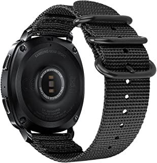 Fintie for Galaxy Watch 42mm / Galaxy Watch Active Bands, 20mm Soft Nylon Replacement Strap Band with Adjustable Closure for Samsung Gear Sport/Gear S2 Classic Smartwatch, Black