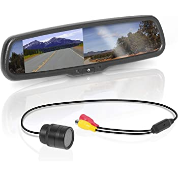 BOSS Audio Systems BV430RVM Rearview Car Mirror with 4.3 Inch Built in High Resolution Digital Monitor - Includes Weatherproof Rearview Backup Camera and Brackets