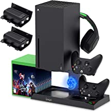 $45 » Vertical Stand with Cooling Fan for Xbox Series X, YUANHOT Charging Station Dock with 1400mAh Rechargeable Battery Pack, D...